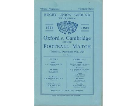 OXFORD V CAMBRIDGE 1924 RUGBY PROGRAMME