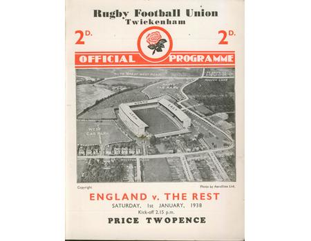 ENGLAND V THE REST 1938 RUGBY PROGRAMME