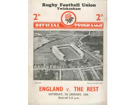 ENGLAND V THE REST 1939 RUGBY PROGRAMME
