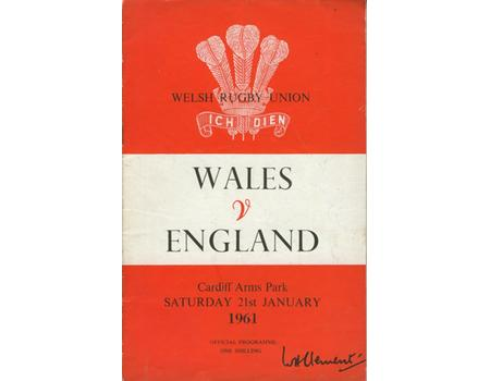 WALES V ENGLAND 1961 RUGBY PROGRAMME