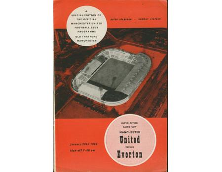 MANCHESTER UNITED V EVERTON 1964-65 (FAIRS CUP) FOOTBALL PROGRAMME
