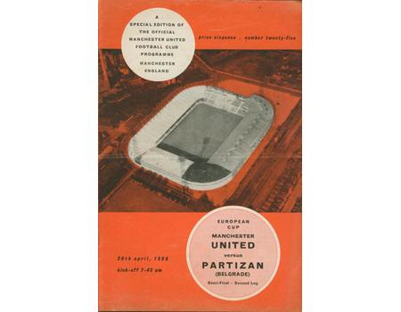 MANCHESTER UNITED V PARTIZAN BELGRADE 1965-66 (EUROPEAN CUP SEMI FINAL) FOOTBALL PROGRAMME