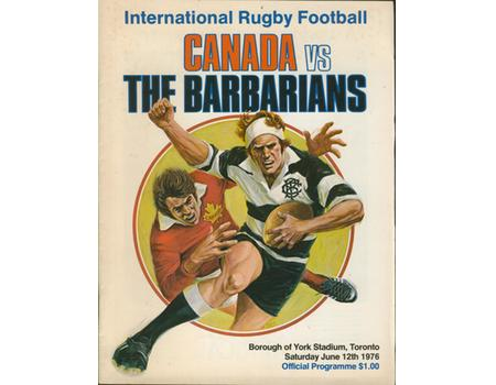 CANADA V BARBARIANS 1976 RUGBY PROGRAMME
