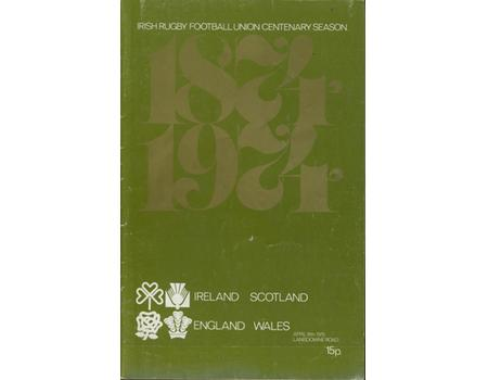 IRELAND & SCOTLAND V ENGLAND & WALES 1974 RUGBY PROGRAMME