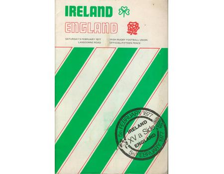 IRELAND V ENGLAND 1977 RUGBY PROGRAMME