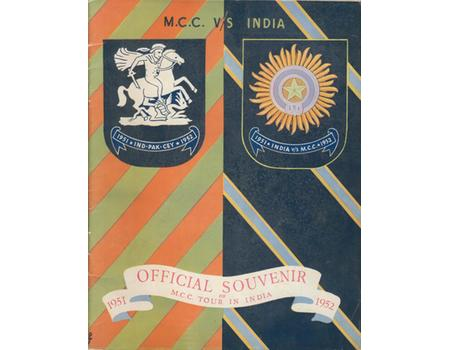 OFFICIAL SOUVENIR OF M.C.C. TOUR IN INDIA 1951-1952