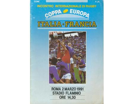 ITALY V FRANCE 1991 RUGBY PROGRAMME