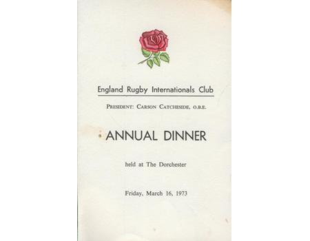 ENGLAND RUGBY DINNER MENU 1973 (SIGNED BY MANY EX-ENGLAND INTERNATIONALS)