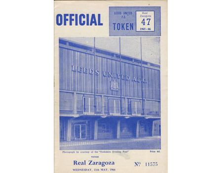 LEEDS UNITED V REAL ZARAGOZA 1968 (FAIRS CUP SEMI-FINAL REPLAY) FOOTBALL PROGRAMME