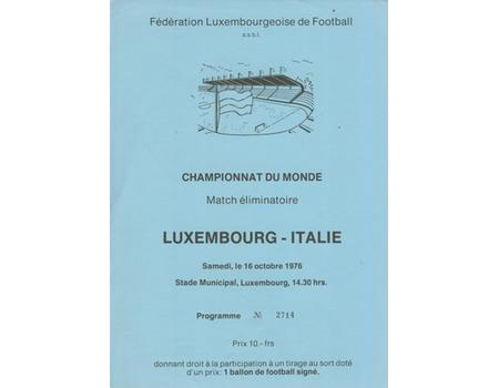 LUXEMBOURG V ITALY 1976 FOOTBALL PROGRAMME