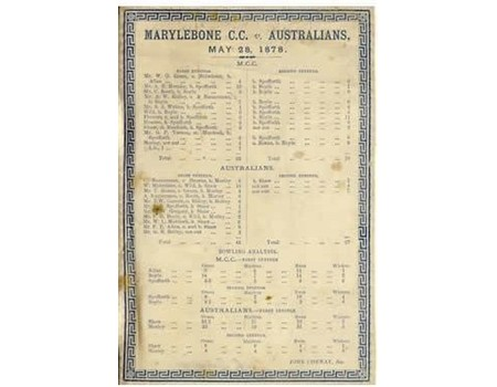 M.C.C. V AUSTRALIANS 1878 CRICKET SILK SCORECARD - ENGLAND BOWLED OUT FOR 33 & 19