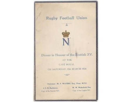 ENGLAND V SCOTLAND 1924 (ENGLAND GRAND SLAM) RUGBY DINNER MENU