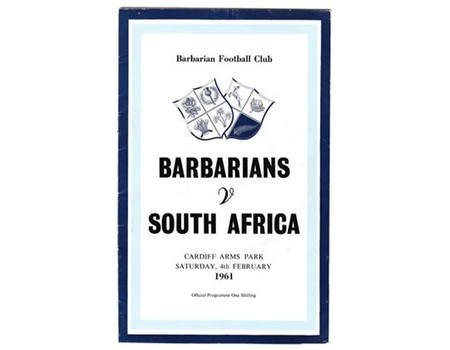 BARBARIANS V SOUTH AFRICA 1961 RUGBY PROGRAMME