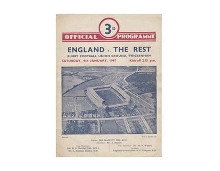 ENGLAND V THE REST 1947 RUGBY PROGRAMME