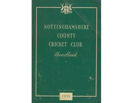NOTTINGHAMSHIRE COUNTY CRICKET CLUB HANDBOOK 1959