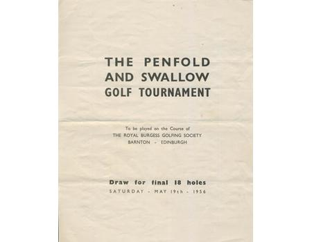 THE PENFOLD AND SWALLOW GOLF TOURNAMENT 1956 DRAW SHEET