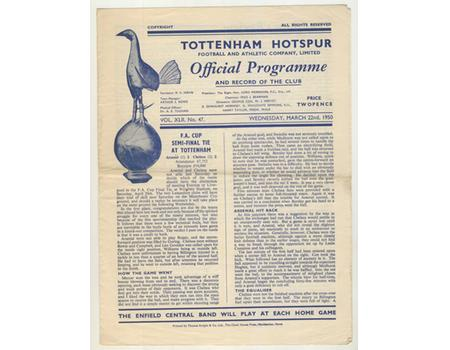 ARSENAL V CHELSEA 1949-50 (FA CUP SEMI-FINAL REPLAY) FOOTBALL PROGRAMME