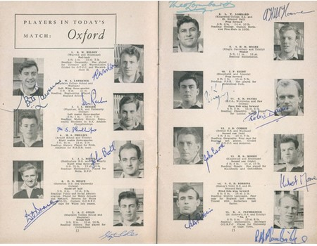 OXFORD V CAMBRIDGE 1956 RUGBY PROGRAMME (SIGNED BY OXFORD TEAM)