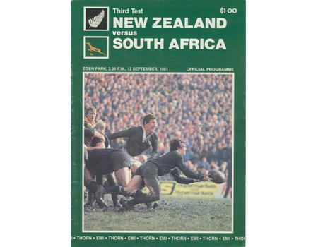 NEW ZEALAND V SOUTH AFRICA 1981 (3RD TEST) RUGBY PROGRAMME