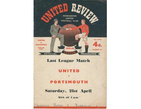 MANCHESTER UNITED V BLACKPOOL 1956 FOOTBALL PROGRAMME (UNITED WIN CHAMPIONSHIP)