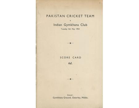 INDIA GYMKHANA CLUB V PAKISTAN 1954 CRICKET SCORECARD (PAKISTAN