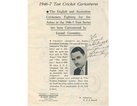 ENGLAND CRICKET TOUR TO AUSTRALIA 1946-47 SIGNED SOUVENIR