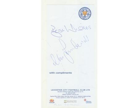 ALAN BIRCHENALL (LEICESTER CITY) SIGNED COMPLIMENT SLIP