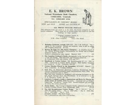 E.K. BROWN CRICKET BOOK CATALOGUE