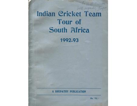 INDIAN CRICKET TEAM TOUR OF SOUTH AFRICA 1992-93