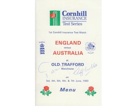 ENGLAND V AUSTRALIA (OLD TRAFFORD) 1993 LUNCH MENU - SIGNED BY THE NAWAB OF PATAUDI