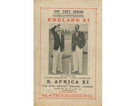 ENGLAND V SOUTH AFRICA 1947 (THE OVAL) CRICKET PROGRAMME
