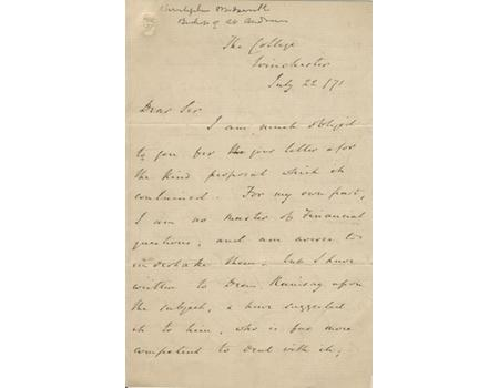 CHARLES WORDSWORTH SIGNED LETTER 1871 - INSTIGATOR OF BOAT RACE AND CRICKET VARSITY MATCH