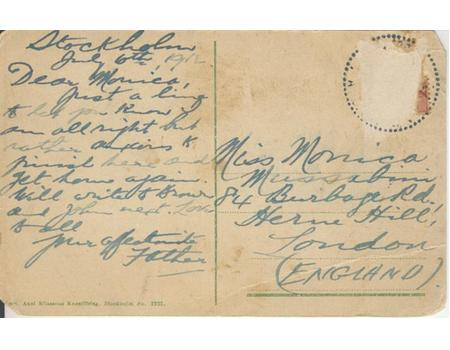 SAM MUSSABINI SIGNED POSTCARD 1912 (STOCKHOLM OLYMPICS)
