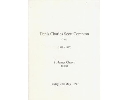 DENIS COMPTON CBE (1918-1997) FUNERAL ORDER OF SERVICE