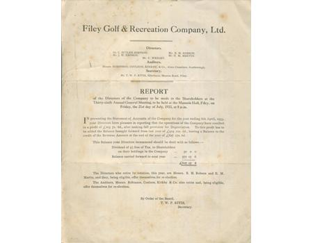 FILEY GOLF CLUB 1933 ACCOUNTS & BALANCE SHEET