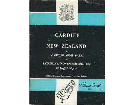 CARDIFF V NEW ZEALAND 1963 RUGBY PROGRAMME