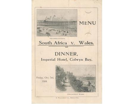 WALES V SOUTH AFRICA 1924 DINNER MENU - SOUTH AFRICA