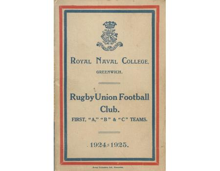 ROYAL NAVAL COLLEGE (GREENWICH) R.F.C. FIXTURES LIST 1924-25