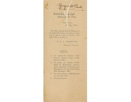 BARBADOS CRICKET ASSOCIATION REPORT AND STATEMENT OF ACCOUNTS 1934 (FIRST YEAR).