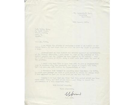 E.E. SNOW 1964 CRICKET LETTER