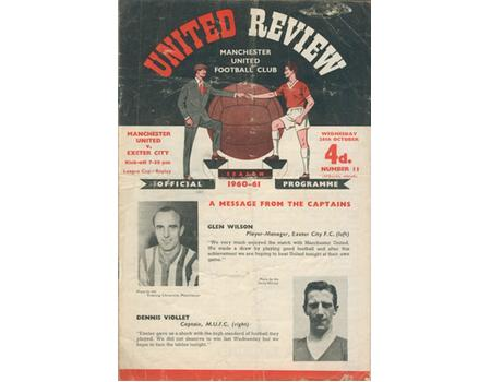 MANCHESTER UNITED V EXETER CITY 1960 FOOTBALL PROGRAMME