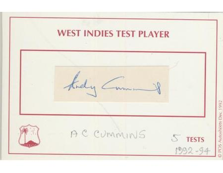 ANDY CUMMINS (WEST INDIES) CRICKET AUTOGRAPH