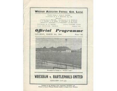 WREXHAM V HARTLEPOOLS UNITED 1962 FOOTBALL PROGRAMME  - WREXHAM WIN 10-1 WITH THREE HATRICKS