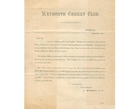 WEYMOUTH CRICKET CLUB 1894 - OFFICIAL CLUB REPORT
