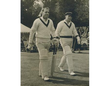 MACDONALD AND RUTHERFORD (AUSTRALIA) 1956 CRICKET PHOTOGRAPH - GOING OUT TO BAT AT ARUNDEL