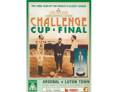 ARSENAL V LUTON TOWN 1988 (LITTLEWOODS CHALLENGE CUP FINAL) FOOTBALL PROGRAMME