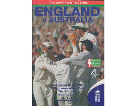 ENGLAND V AUSTRALIA 2005 (5TH TEST AT THE OVAL) CRICKET PROGRAMME