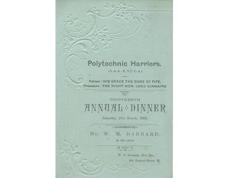 POLYTECHNIC HARRIERS 1900 ANNUAL DINNER MENU CARD