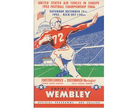 US AIR FORCES IN EUROPE 1952 AMERICAN FOOTBALL CHAMPIONSHIP FINAL - WEMBLEY STADIUM