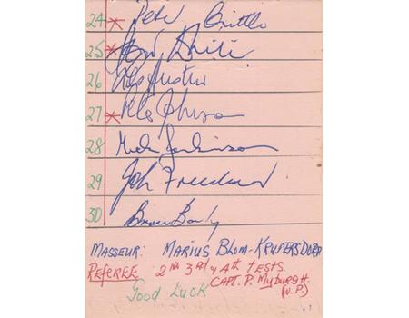 SOUTH AFRICA 1963 RUGBY AUTOGRAPHS - 4TH TEST V AUSTRALIA